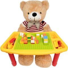 Decopatent® - Kindertafel Bouwtafel - Speeltafel met bouwplaat (Voor Duplo® blokken) en vlakke kant - 3 Vakken - Met 90 Bouwstenen