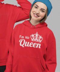B&C Collection King & Queen Hoodie Rood I'm his Queen (Queen - Maat XS)