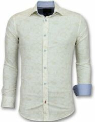 Tony Backer Heren Overhemden Italiaans - Blouse Met Print - 3010 - Beige Casual overhemden heren Heren Overhemd Maat M