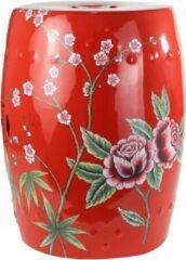 Fine Asianliving Keramische Kruk Rood Pioenen Porselein Stoel B33xH45cm Handbeschilderd Chinese Meubels Oosterse Kast