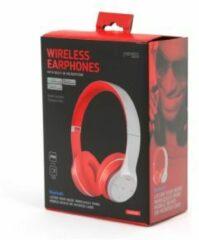 PLATINET Freestyle - Draadloze inklapbare on ear koptelefoon   Bluetooth - Radio - Grijs/rood - SD