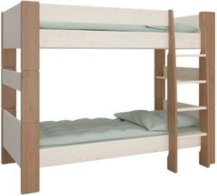 DS Style Stapelbed Kids 90x200cm in wit whitewash met steen