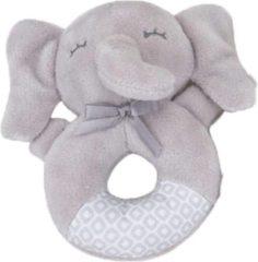 Grijze DW4Trading® Extra zachte knuffel rammelaar olifant 13 cm