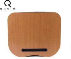 QUVIO Laptop schoot kussen houtlook / Laptopkussen / Schootkussen met gleuf voor tablet - Bruin