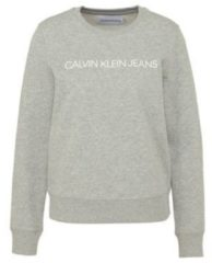 Grijze Calvin Klein Jeans Women's Institutional Core Logo Crew Neck Sweatshirt - Light Grey Heather - L