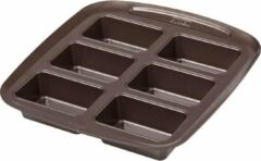 Pyrex Asimetria Bakplaat - 6 Mini Cakevormpjes - Metaal - Bruin