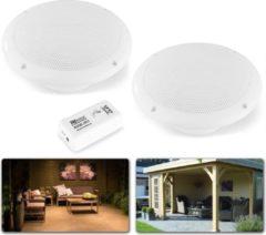Witte Bluetooth speakerset - Power Dynamics BT10SET - Stereo plafondspeakerset met zéér compacte Bluetooth versterker en 2 vochtbestendige inbouw plafondspeakers