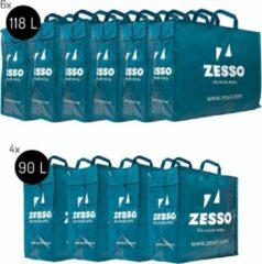 Blauwe Zesso Big Shopper Maxi Mix Zesso Bag 4x L, 6x XL - Opbergtassen Set van 10 - Verhuispakket