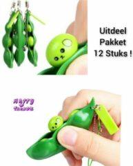 Happy Trendz® 12 STUKS UITDEELPAKKET Fidget pea poppers - Antistress Bonen Sleutelhanger - Groen - sojaboon - Sleutelhanger - Stress verlagend - Gezien op TikTok!