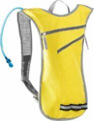 Merkloos / Sans marque Gele sport rugtas/rugzak met waterzak 2 liter 32 x 50 cm - Sportaccessoires - Sporttassen - Wandelrugtas/hardlooprugtas met waterreservoir