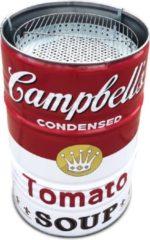 Rode BarrelQ Barrelkings multifunctioneel houtskool barbecue-vuurkorf en statafel in 1 Special Edition Campbell's Soup Design