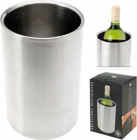 Afbeelding van Roestvrijstalen LOKS Wijnkoeler - RVS - Ø 12 cm - Dubbelwandig