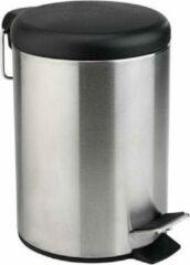 Khadija Pedaalemmer - 3 L - 3 liter - staal - zwart - zilver - kantoor - slaapkamer - keuken - toilet - badkamer