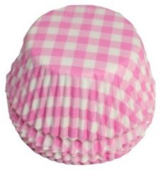 House of Marie Cupcake Cups Boerenbont Ruit Roze 50x33mm. 50st.