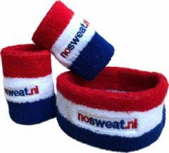 No Sweat zweetbandjes - rood-wit-blauw - één set bevat één hoofdband en twee polsbandjes.