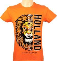 ByKemme T-Shirt - Casual T-Shirt - Fun T-Shirt - Fun Tekst - Lifestyle T-Shirt - Oranje - Koningsdag - Oranje Leeuw - HOLLAND - A Lion Warrior - Maat XL