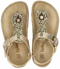 Kipling Rikulu 4 leren sandalen met panterprint goud