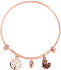 CO88 Collection Little Angel 8CB 18005 Stalen Armband met Hangers - Levensboom en Vlinder - One-size - Rosékleurig