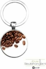 Zilveren MC Living Sleutelhanger Glas - Koffiebonen