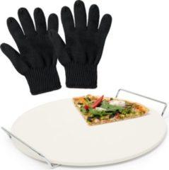 Relaxdays 3er Pizzaset Pizzastein Backstein Cordierit Hitzeschutz Grillhandschuh feuerfest
