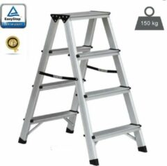 EasyStep Huishoudtrap - Dubbel - 2x4 treden - Aluminium - Lichtgewicht - Werktrap