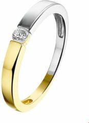 Quickjewels huiscollectie Dutch Jewel 14 krt Bicolor Gouden ring met zirkonia.