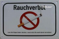 Witte Retroborden.nl Wandbord - Rauchverbot