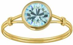 Zilveren WeLoveSilver Ringen dames | Gold plated ring met aqua kristal
