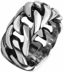 Zilveren Lazy Cat Heren Ring - Edelstaal - Gourmetschakel - 18.25mm