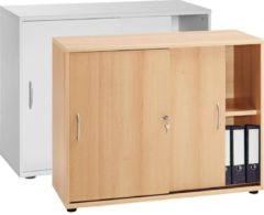 4-tlg Aktenregal Set Büro Schrank Regal Büroschrank Aktenschrank Sideboard Omegos 555 VCM Buche