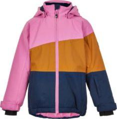 Color Kids - Ski-jas voor meisjes - Colorblock - Roze/Honing/Donkerblauw - maat 104cm