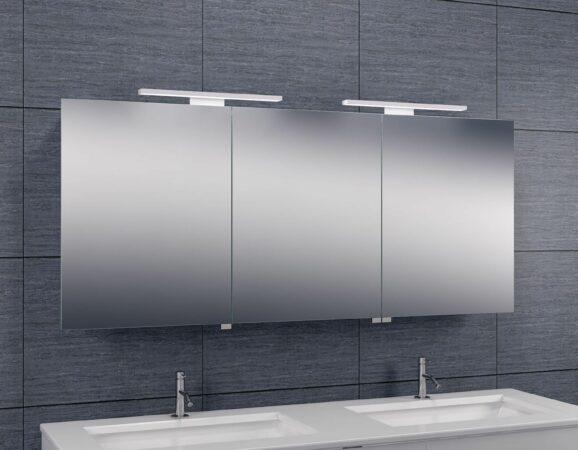 Afbeelding van Douche Concurrent Spiegelkast Larissa 140x60x14cm Aluminium LED Verlichting Stopcontact Binnen en Buiten Spiegel Glazen Planken