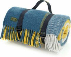 Blauwe Tweedmill Picknickkleed Block Check Ink & Yellow/Navy