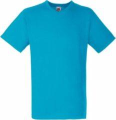 Azuurblauwe Fruit Of The Loom Heren Valuegewicht V-hals, T-shirt met korte mouwen. (Azure Blauw)