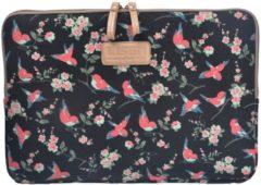 Lisen Laptop Sleeve tot 15 inch - Vogels en Bloemen - Zwart/Roze