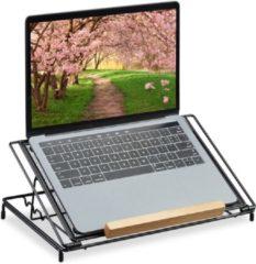 Relaxdays laptopstandaard verstelbaar - boekensteun - laptoptafel - van 10 tot 14 inch zwart
