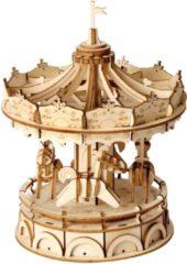 Robotime 3D puzzel modelbouw pakket Merry Go Round 12x12x15cm Hout Naturel