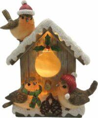 Decoratie vogelhuisje met vogels | 12*7*14 cm | Meerkleurig | Polyresin | Vogels | Clayre & Eef | 6PR2757