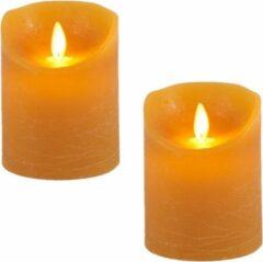 Anna's Collection 2x Oker Gele Led Kaarsen / Stompkaarsen 10 Cm - Luxe Kaarsen Op Batterijen Met Bewegende Vlam