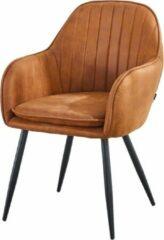 Troon Collectie Eetkamerstoel - met armleuning - Cognac - Leren uitstraling - Stoel voor de eettafel - Loungestoel - Stevige Eettafelstoel - Belastbaar gewicht 180 kilo