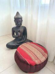 Bordeauxrode DeSfeerbrenger Jar Zafu kussen – Yogakussen - Meditatie kussen – Rond meditatiekussen – Thais kussen – Kapok – 32x32x15 cm – Burgundy Rood
