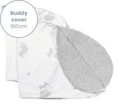 Licht-grijze Doomoo Buddy Cover - Fox Grey - Hoes voor voedingskussen Buddy - biologisch Katoen - 180 cm