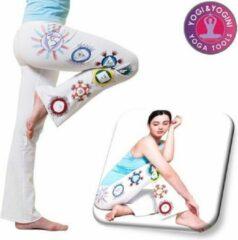Bruine Yogi & Yogini Yoga handgeschilderde Chakra broek - Katoen - Wit - Maat M