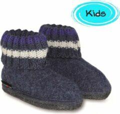 Haflinger - Kids Paul - Pantoffels maat 25, zwart/blauw
