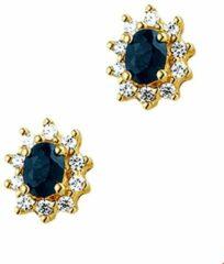 Blauwe The Jewelry Collection Oorknoppen Saffier En Zirkonia - Geelgoud
