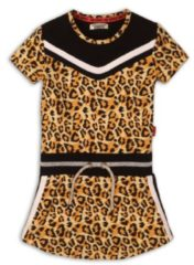 DJ Dutchjeans jersey jurk met panterprint en glitters lichtgeel/beige/zwart