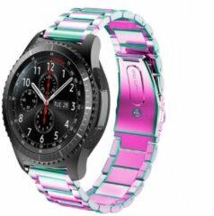 Smartwatchbandje - Geschikt voor Samsung Galaxy Watch - stalen band - regenboog - 41mm / 42mm