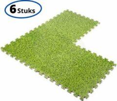 Zwarte Merkloos / Sans marque Fitness Puzzel Foam Mat Set - 6 Stuks - Puzzelmatten - Vloermatten - Fitnessmatten - Vloerbeschermer - Zwembad Vloer Tegels geschikt voor Intex - 40 x 40 x 1,5 cm - Gras/Groen