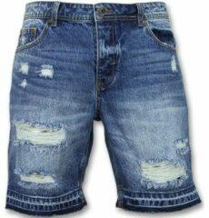 Enos Korte Spijkerbroek Mannen - Shorts Heren Sale - J965 - Blauw Korte Broek Short Jeans Maat W32