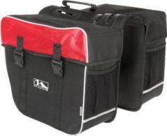 M-Wave AMSTERDAM double Fahrrad Gepäckträger Tasche 34 x 50 x 30... schwarz/rot